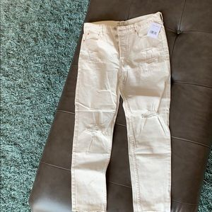 Free people cream/off white jeans destructed